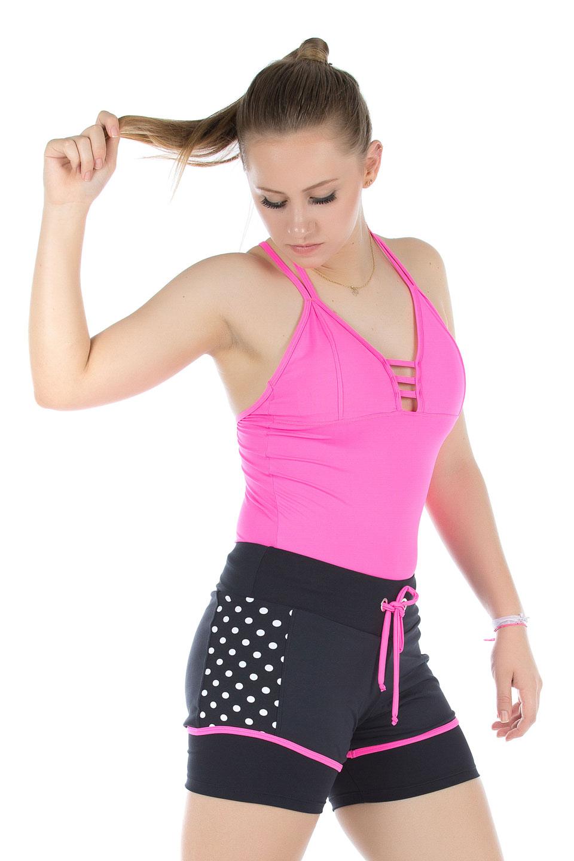 Shorts Adventure Poá Pink, Coleção Mulheres Reais - NKT Fitwear Moda Fitness