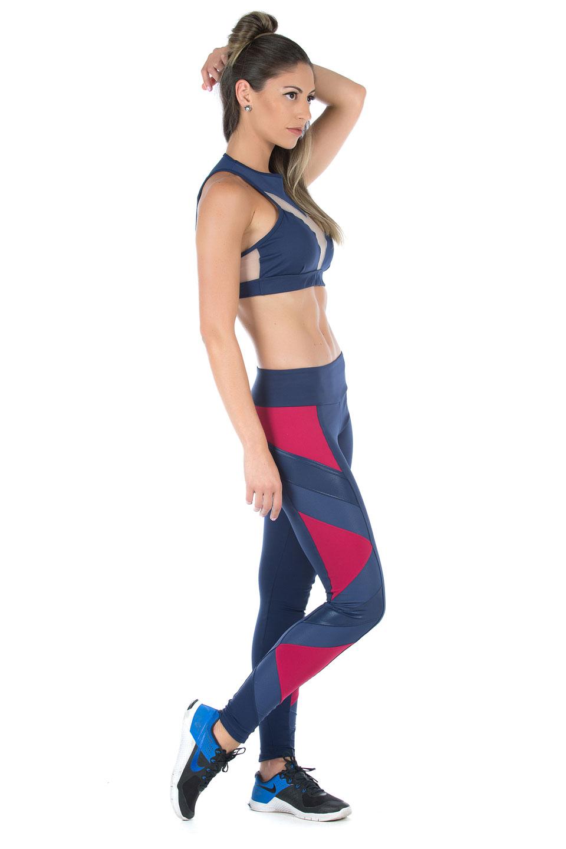 Legging Goddess Marinho com Marsala, Coleção Mulheres Reais - NKT Fitwear Moda Fitness