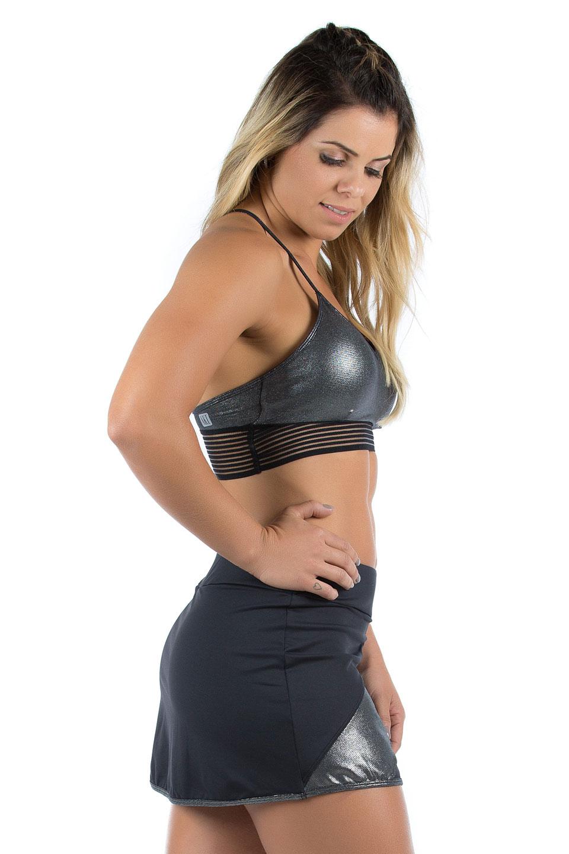 Saia Shorts Objective Prata, Coleção Mulheres Reais - NKT Fitwear Moda Fitness