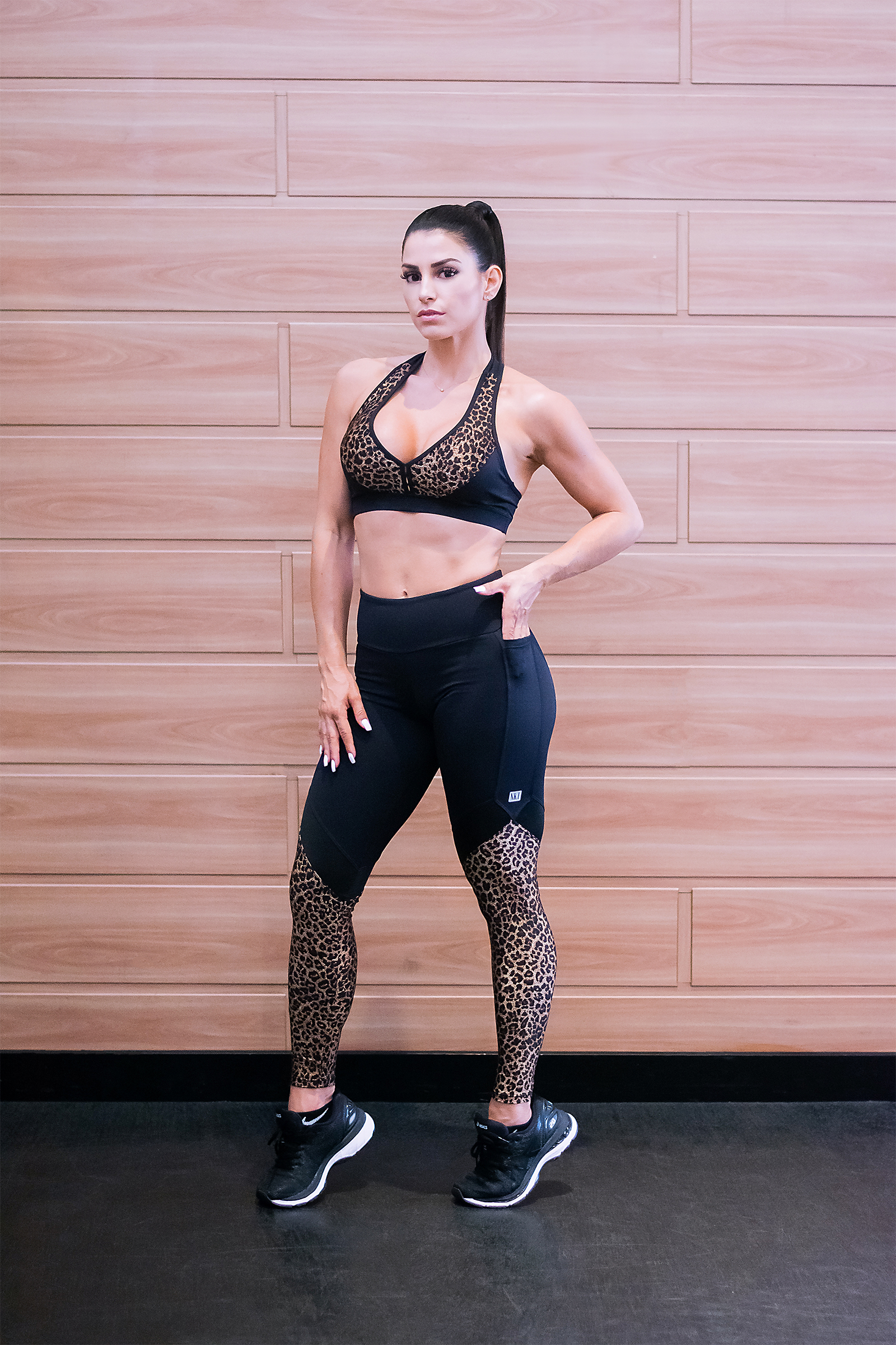Legging Set Preto Onça Trilobal, Coleção Just For You - Animal Print - NKT Fitwear Moda Fitness