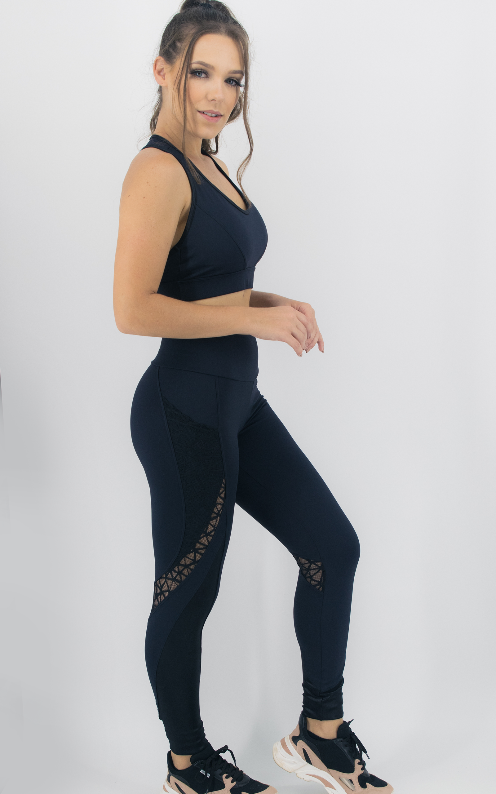 Legging Expression Two Preta, Coleção Move Your Body - NKT Fitwear Moda Fitness