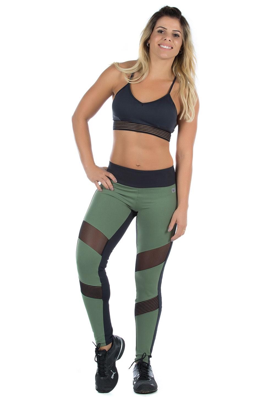 Legging Objective Verde Musgo, Coleção Mulheres Reais - NKT Fitwear Moda Fitness