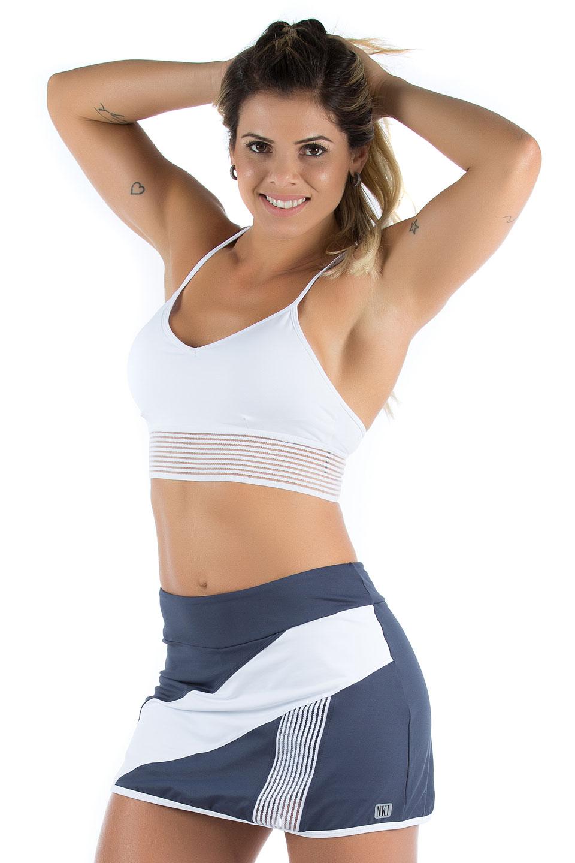 Saia Shorts Objective Marinho, Coleção Mulheres Reais - NKT Fitwear Moda Fitness