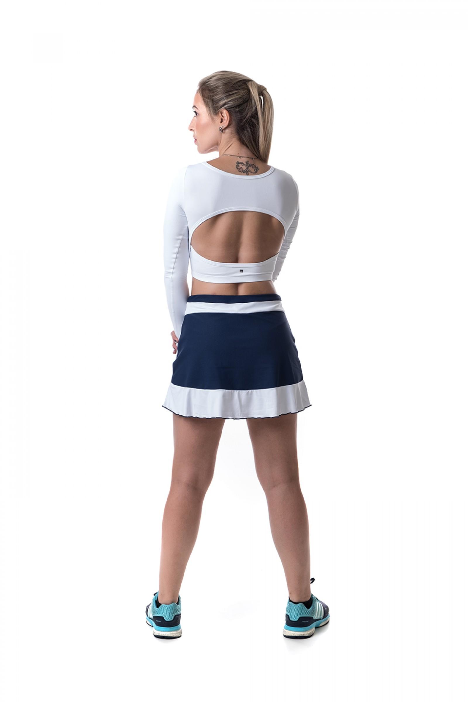 Cropped Link Branco, Coleção Challenge - NKT Fitwear Moda Fitness