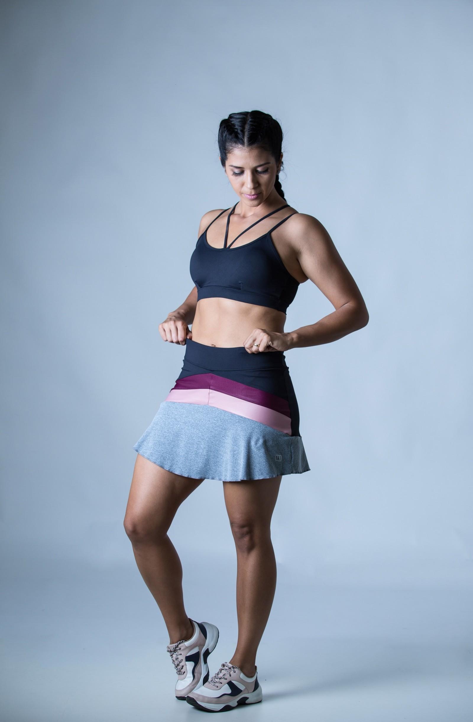 Saia Shorts Totality Rosa Bocca, Coleção Plenitude - NKT Fitwear Moda Fitness