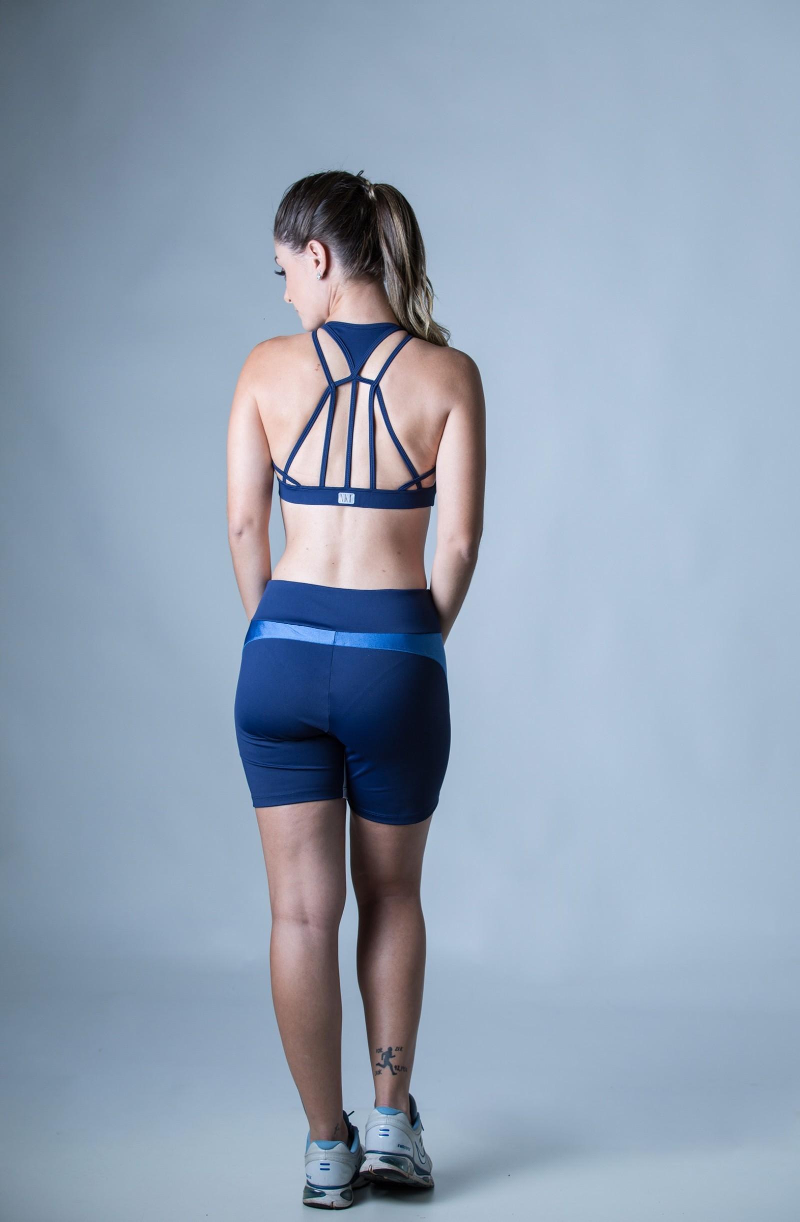 Bermuda Plenty Marinho, Coleção Plenitude - NKT Fitwear Moda Fitness