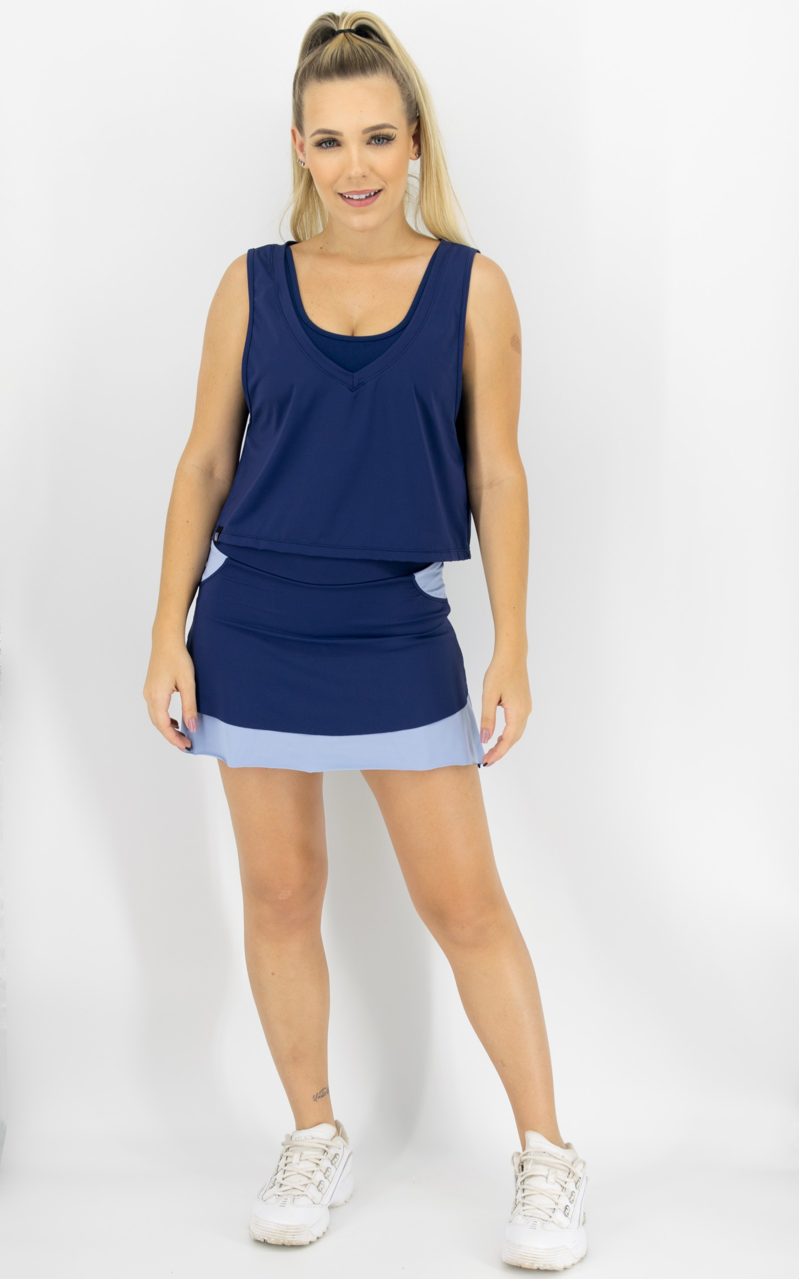 Saia Shorts Star Marinho, Coleção Move Your Body - NKT Fitwear Moda Fitness