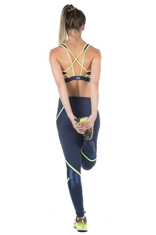 Top Power Full Marinho Neon, Coleção Mulheres Reais - NKT Fitwear Moda Fitness