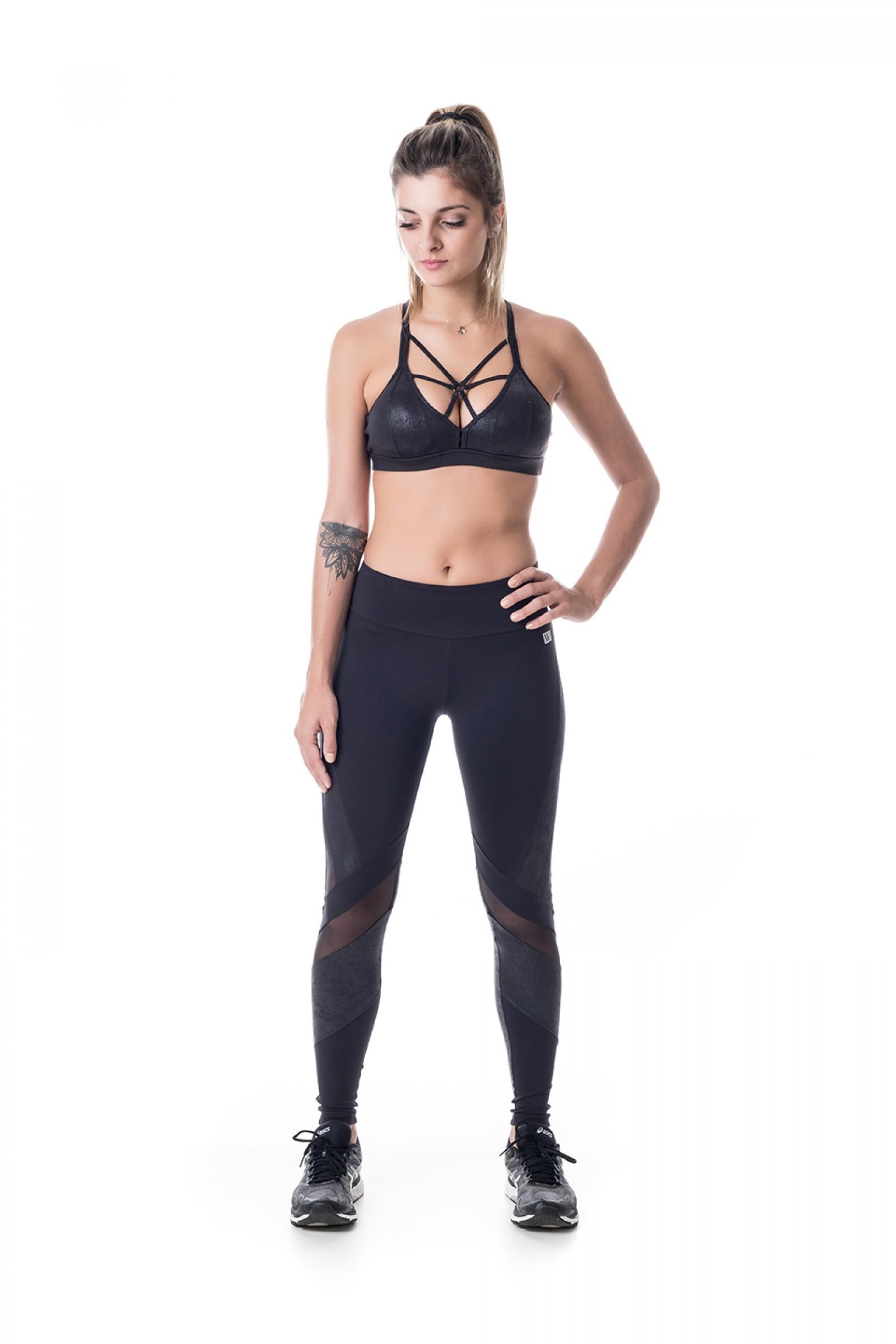 Top Bring Preto Crak, Coleção Challenge - NKT Fitwear Moda Fitness