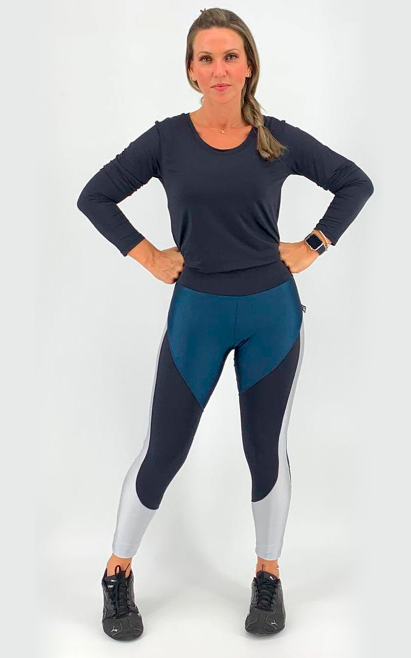 Legging Moviment Marinho e Prata, Coleção Move Your Body - NKT Fitwear Moda Fitness