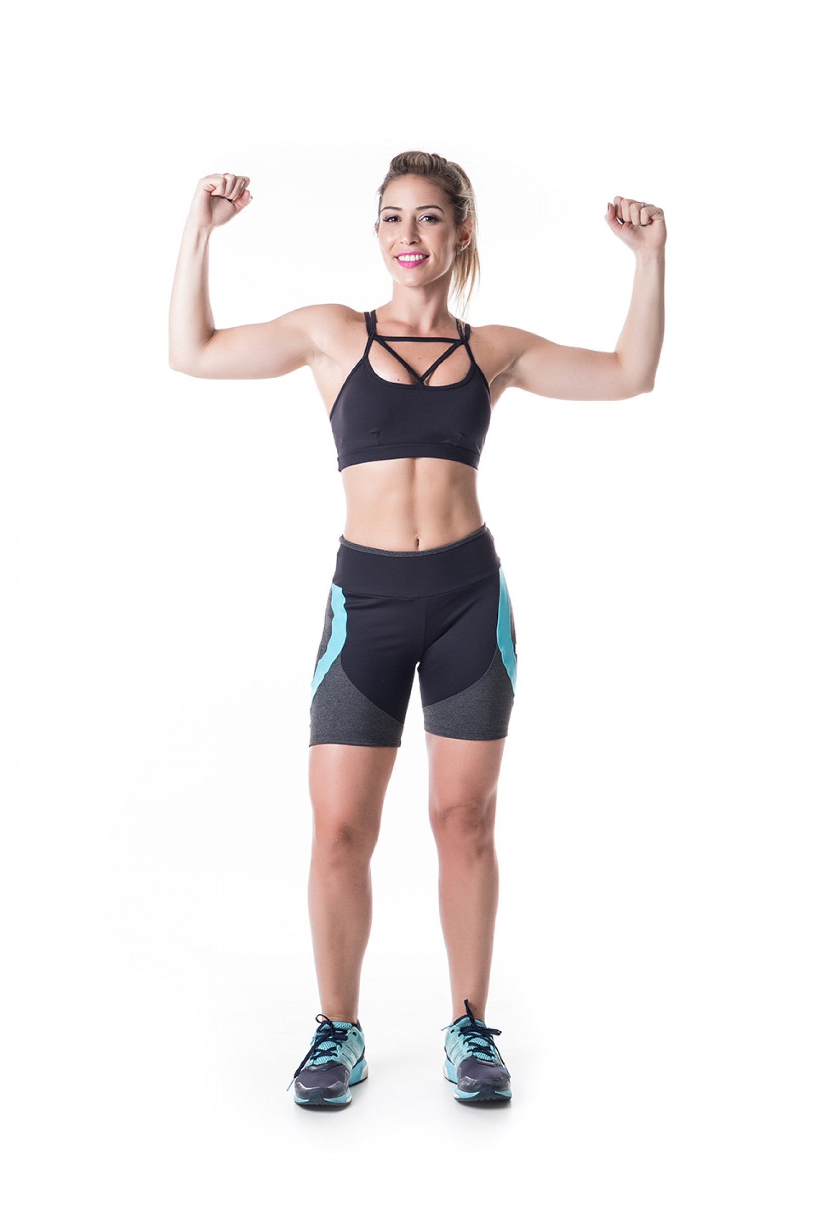 Bermuda Start turquesa, Coleção Challenge - NKT Fitwear Moda Fitness