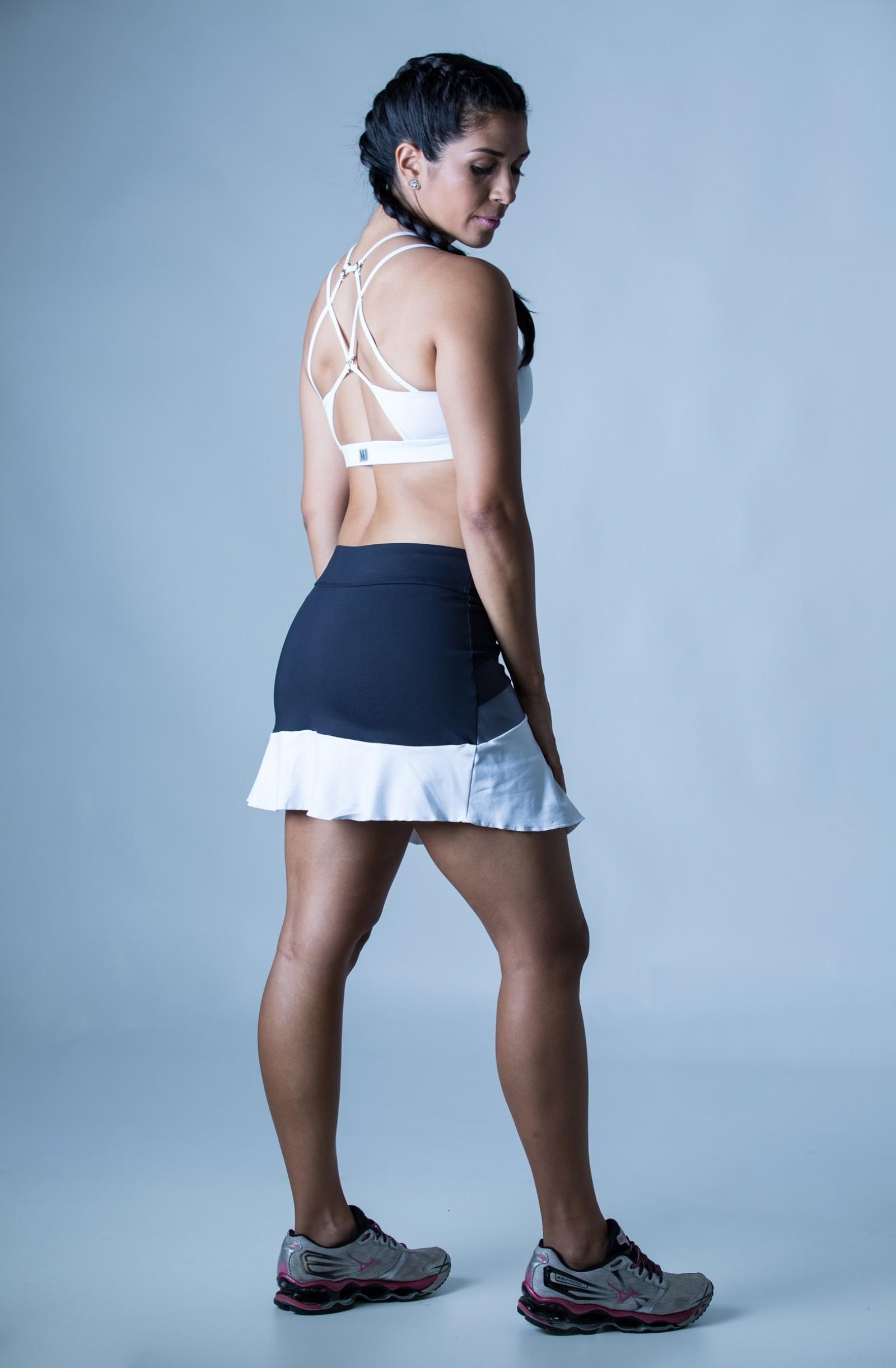 Saia Shorts Totality Cinza Plat, Coleção Plenitude - NKT Fitwear Moda Fitness