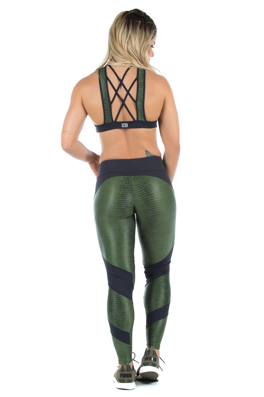 Legging Fearless Verde Musgo, Coleção Mulheres Reais - NKT Fitwear Moda Fitness