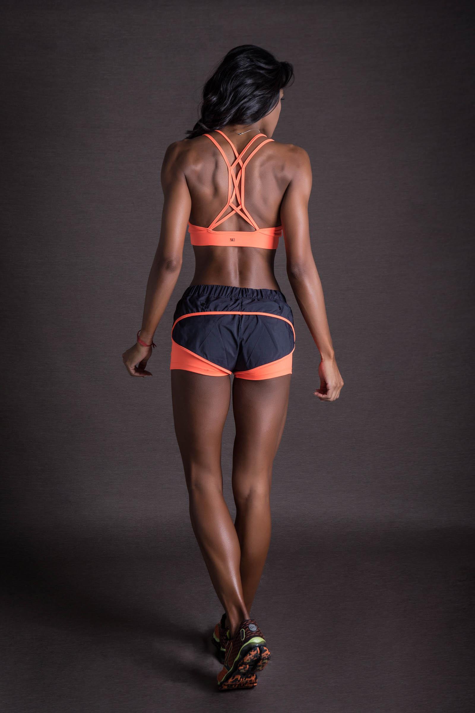 Shorts Power Laranja Neon, Coleção You can - NKT Fitwear Moda Fitness