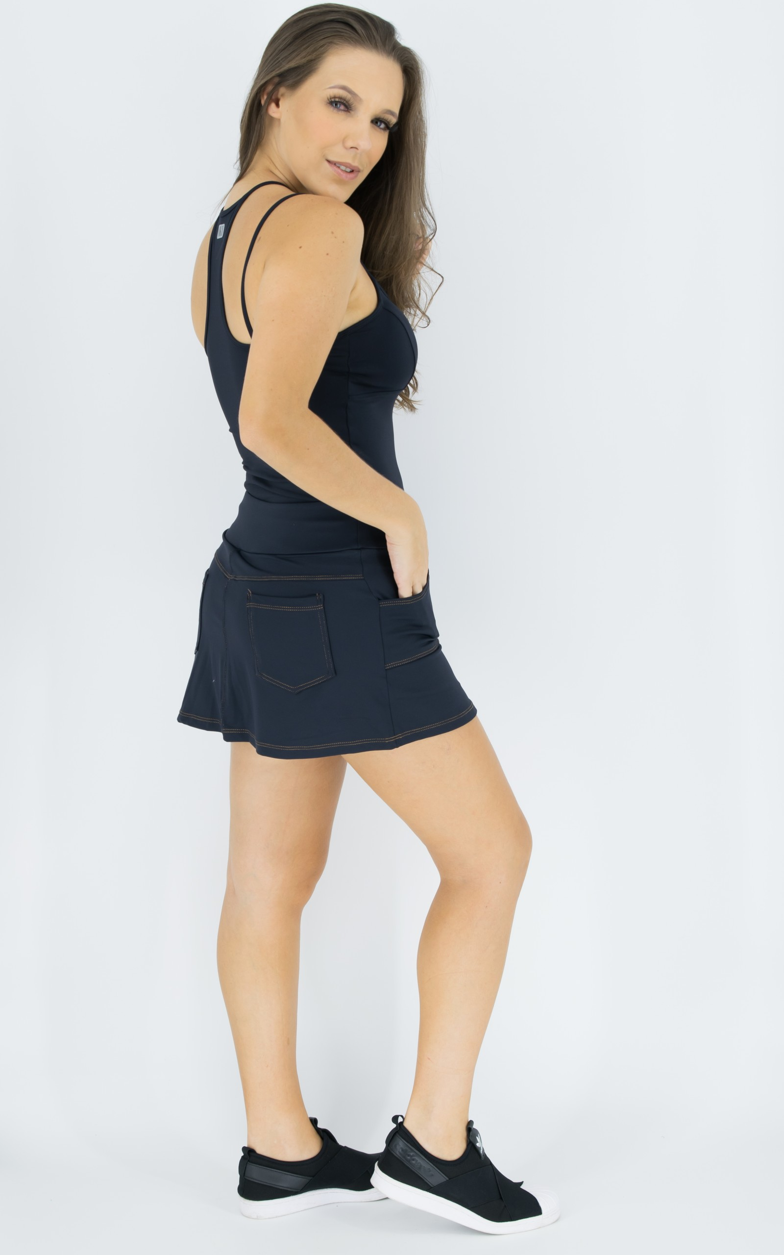 Saia Shorts Fluky Preta, Coleção Move Your Body - NKT Fitwear Moda Fitness