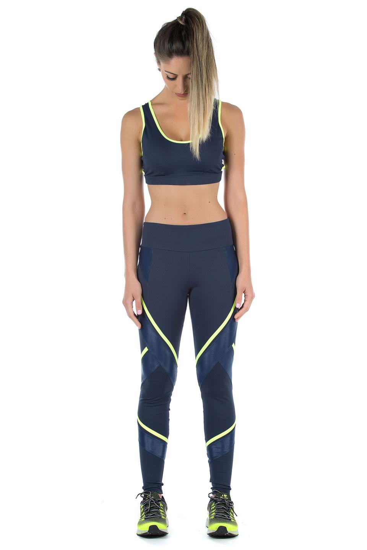 Legging Power Full Marinho Neon, Coleção Mulheres Reais - NKT Fitwear Moda Fitness