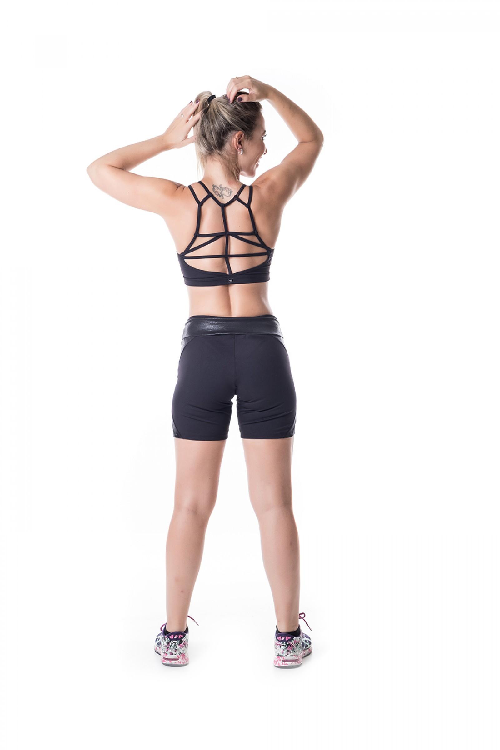 Bermuda Start preto Crak, Coleção Challenge - NKT Fitwear Moda Fitness