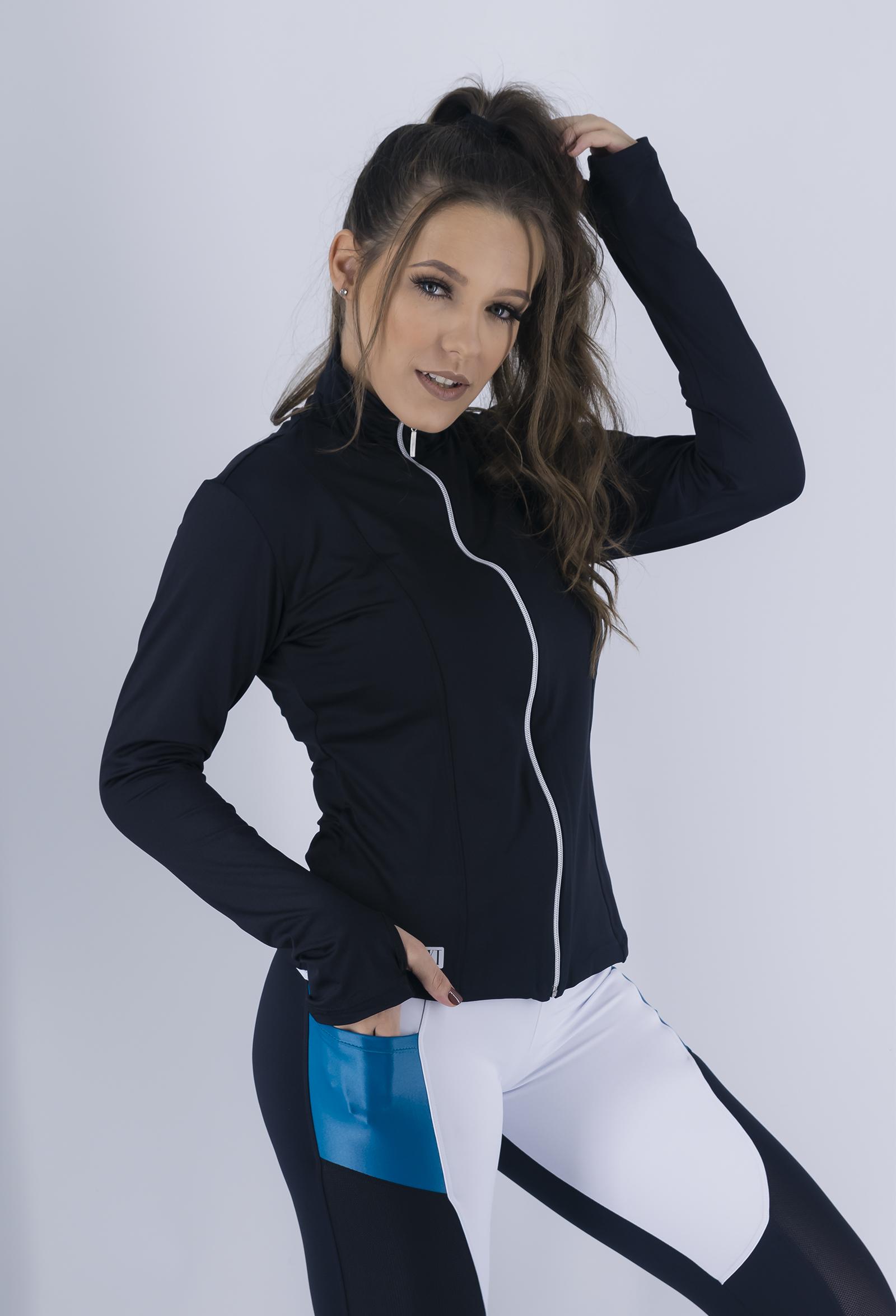 Casaco Conect Preto, Coleção Just For You - NKT Fitwear Moda Fitness
