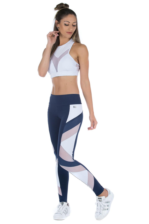Legging Goddess Marinho com Branco, Coleção Mulheres Reais - NKT Fitwear Moda Fitness