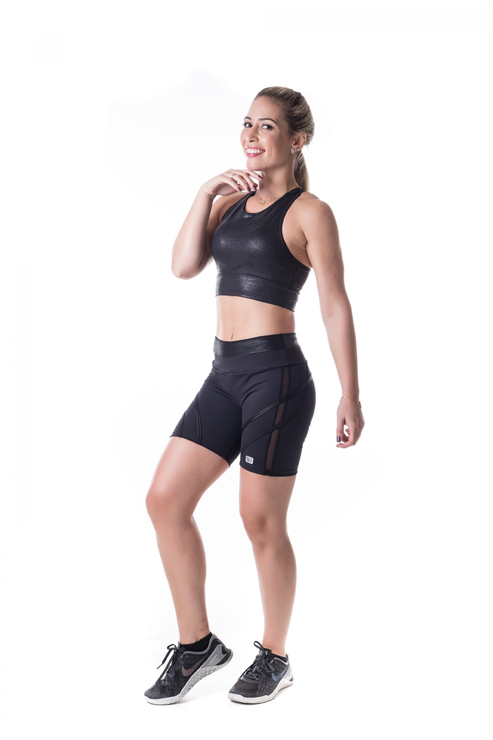 Bermuda Transform Preto Crak, Coleção Challenge - NKT Fitwear Moda Fitness