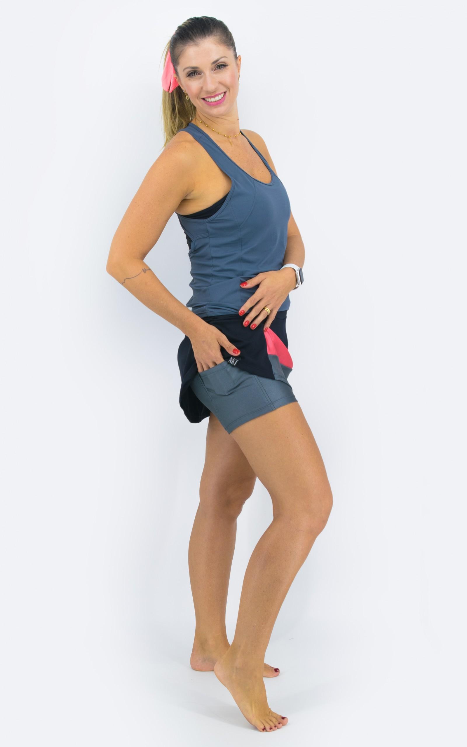 Saia Shorts Spring Chumbo, Coleção YOURSELF - NKT Fitwear Moda Fitness