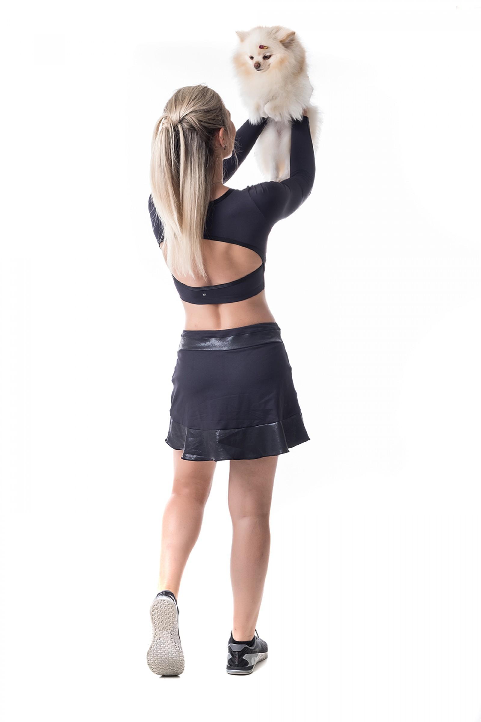 Saia Shorts Surpass Preto Crak, Coleção Challenge - NKT Fitwear Moda Fitness