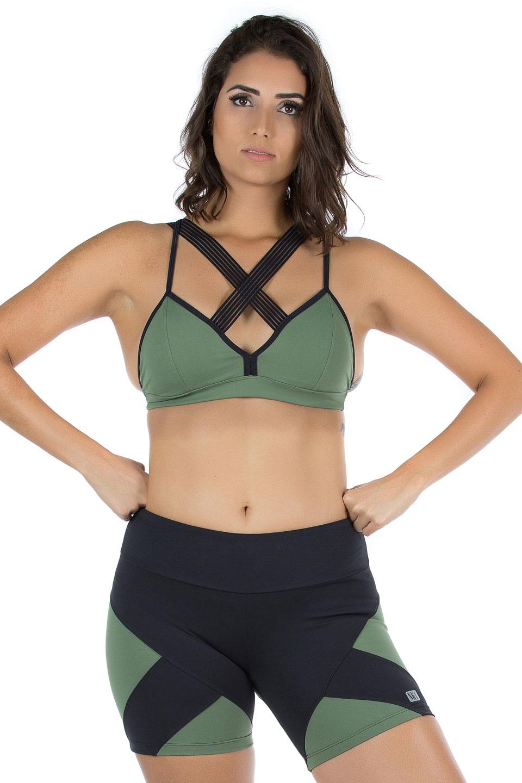 Shorts Agile Verde Musgo, Coleção Mulheres Reais - NKT Fitwear Moda Fitness