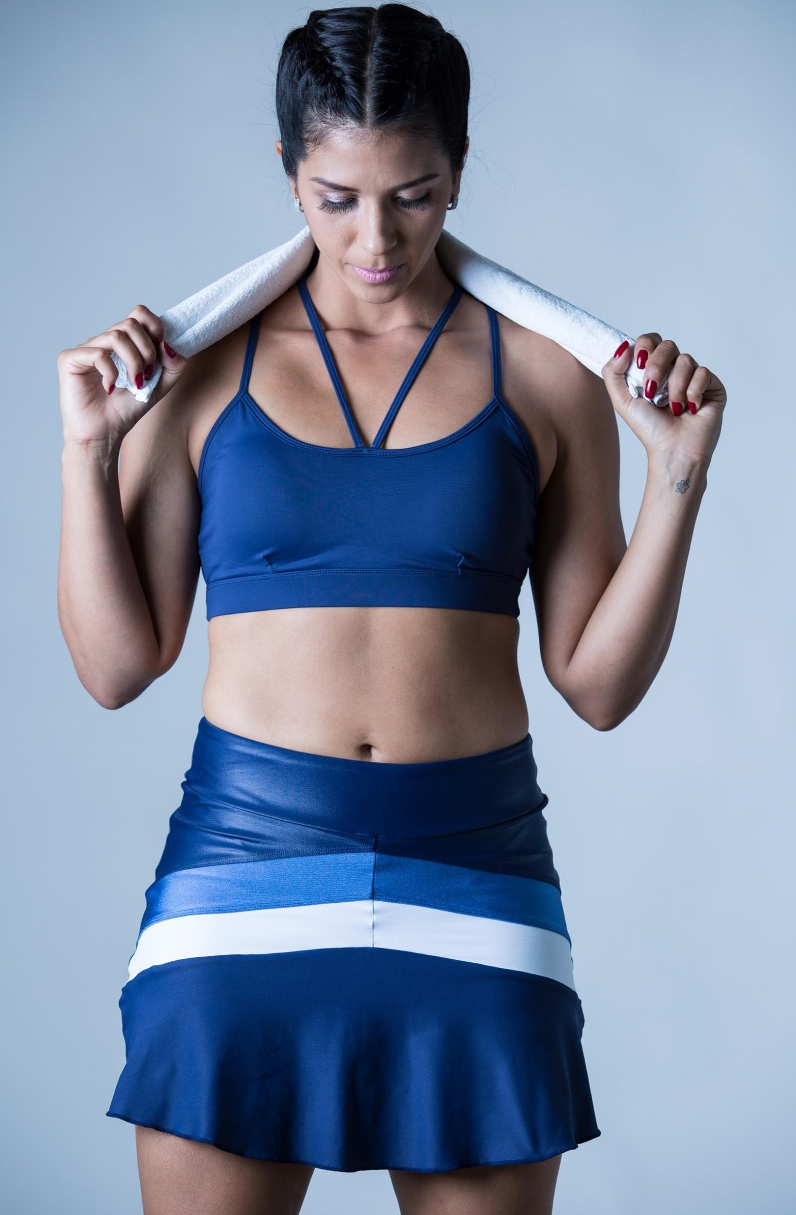 Saia Shorts Totality Azul, Coleção Plenitude - NKT Fitwear Moda Fitness