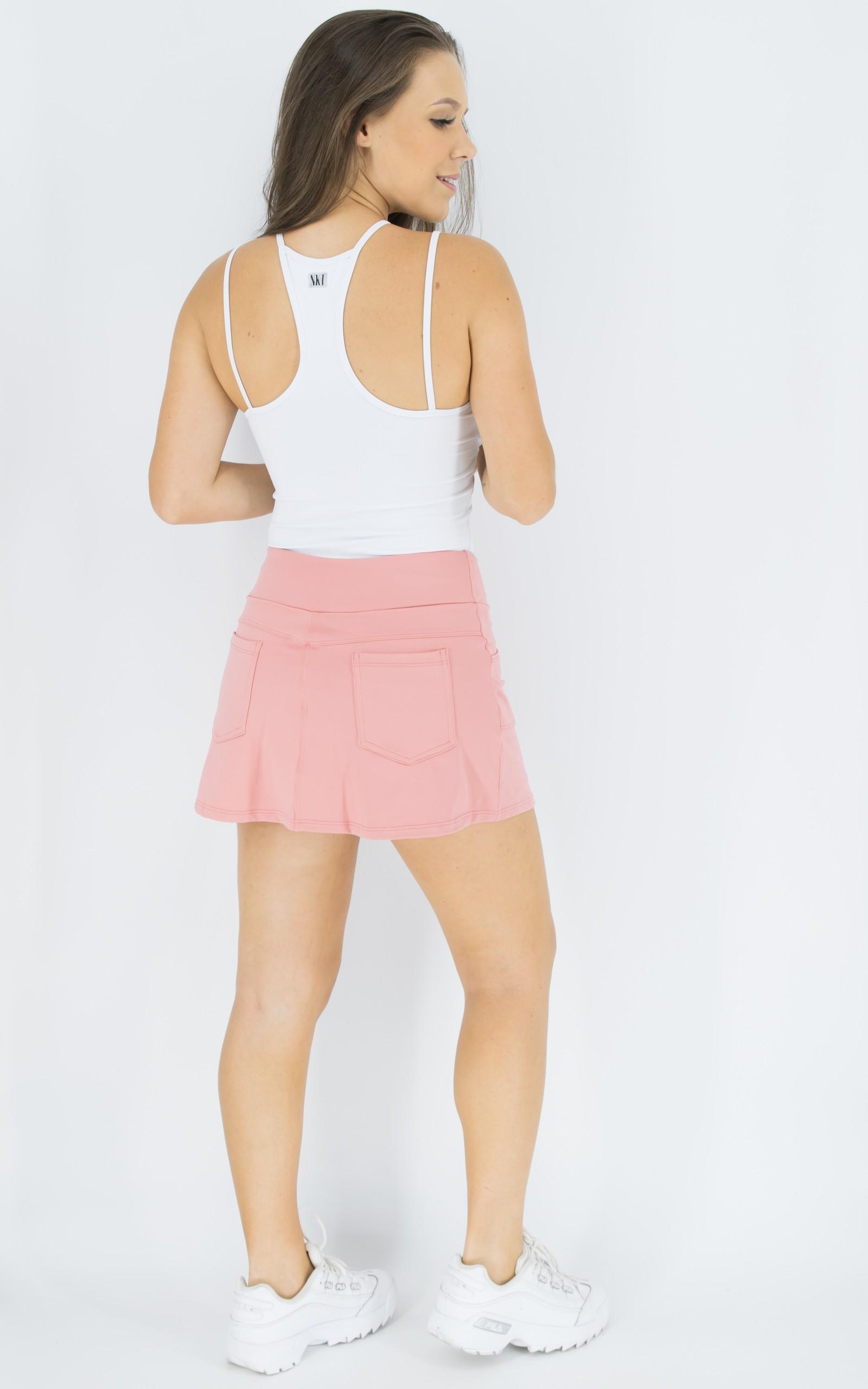 Saia Shorts Fluky Rosa, Coleção Move Your Body - NKT Fitwear Moda Fitness